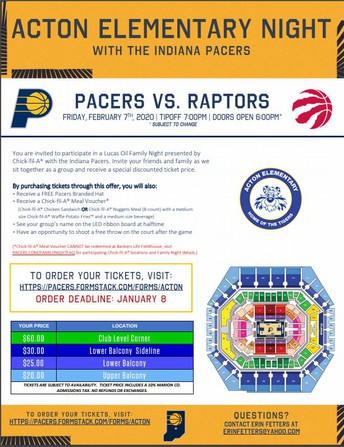 February 7- Acton Family Night at Bankers Life Fieldhouse