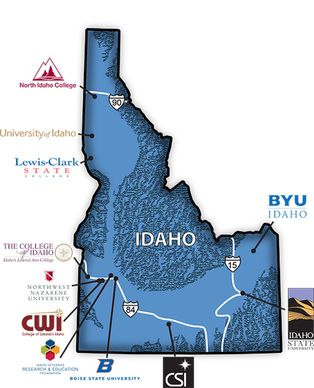State of Idaho map with colleges