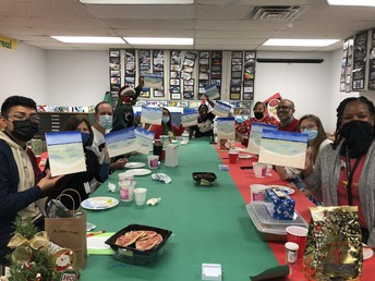 Teachers had a group activity of learning to paint after a festive lunch!!