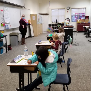 Ms. Rebekah's 1st-grade Core students enjoy their very first day of onsite classes of the year