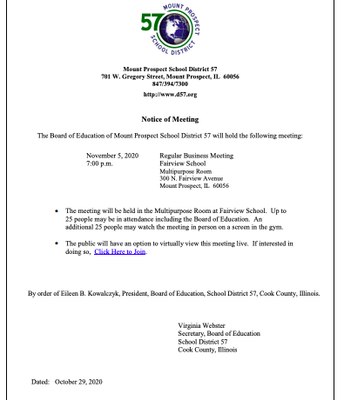 BOE Notice of Meeting