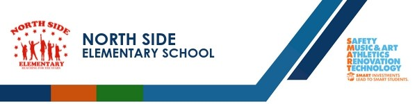 A graphic banner that shows North Side Elementary school's name and logo with the SMART logo
