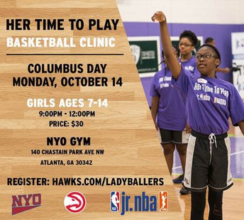 Her Time to Play Basketball Clinic Flyer