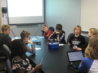 Student Lighthouse Team Reviewing Student Idea Slips