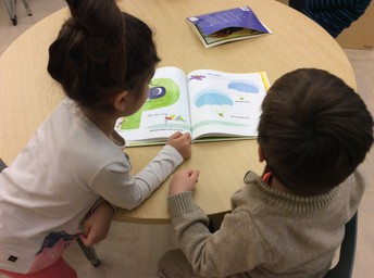 Grade K reads in partnerships to practice sounds, words, skills, and concepts about text