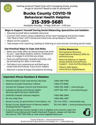Bucks County COVID-19 Behavioral Health Helpline