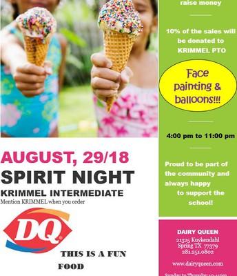 Dairy Queen Spirit Night- August 29th