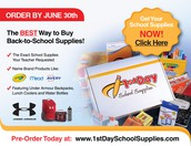1st Day School Supplies - you can buy NOW!!