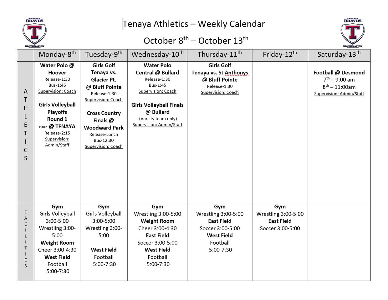 Tenaya Week At A Glance Smore Newsletters For Education