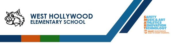 A graphic banner that shows the West Hollywood Elementary School's name and  the SMART logo