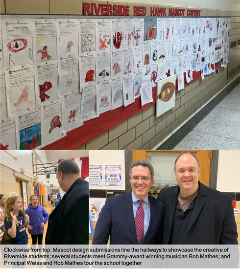 Riverside School's Mascot Designs displayed in the school Hallway; and students meeting musician Rob Mathes; and Principal Weiss with musician Rob Mathes