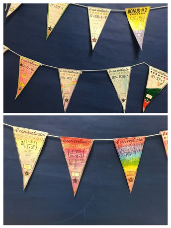 a collection of pennants hanging on the wall highlighting algebraic expressions