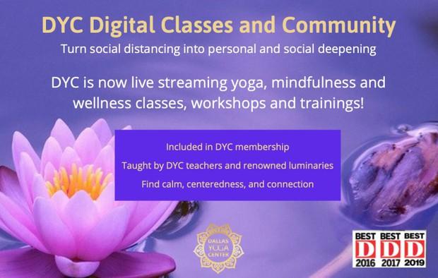 Dallas Yoga Center Digital Classes and Community Advertisement