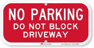 Blocking Driveways