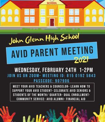 AVID Parent Meeting 2021