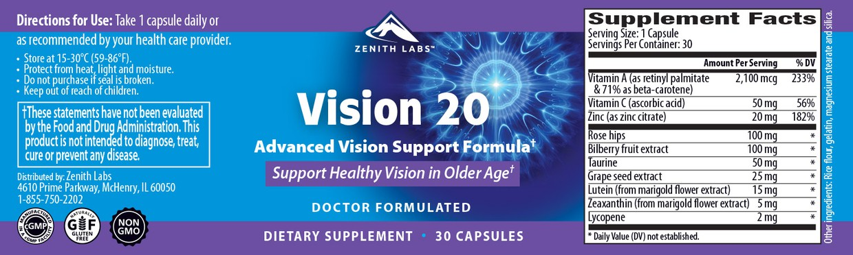 list of ingredients in Vision 20 supplement