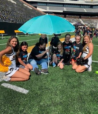 Hawkeye Cheerleaders with Penn kids!