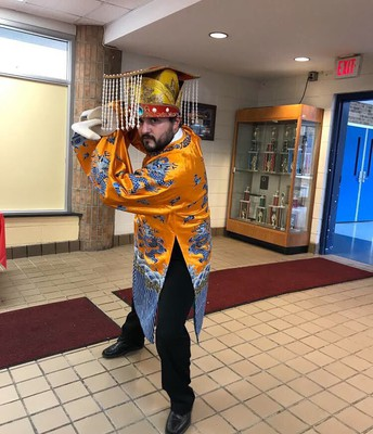 Mr. Tirado in Chinese attire!