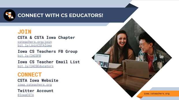 screen capture of presentation slide that lists how computer science educators in iowa can join and connect