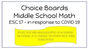 6 - 8 Math Choice Boards