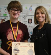 One of our 7th graders who earned the One Award