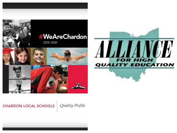 Front Cover of Chardon 2019-20 Quality Profile and Alliance for High Quality Education logo