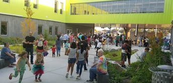 Our sunny courtyard was bustling with PTO booths and Art Literacy info!
