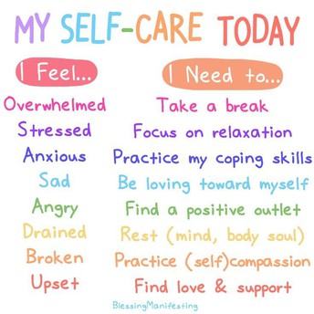 Tips on what self-care activity you can do when you feel a specific emotion.
