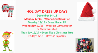 Student Holiday Dress Up Days December 14-18, 2020