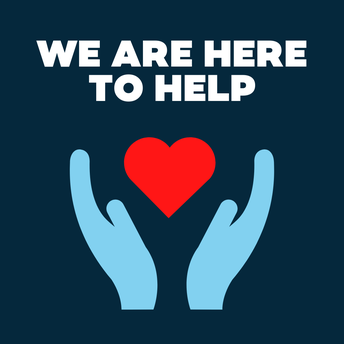 We are here to help. Hands holding a heart.