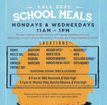 School Meals Served at Monte Vista: