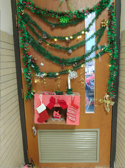 Students had the opportunity to decorate classroom doors. Here is one that we all enjoyed throughout the holidays.
