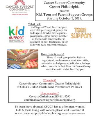 Kids, Teens & Parents Cancer Support Groups