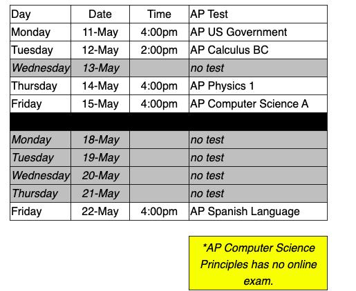 AP Exam Schedule Image
