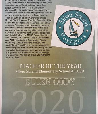 Congratulations, Ellen Cody, SSES and CUSD Teacher of the Year!