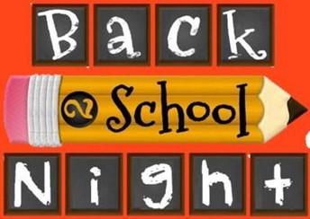 Back to School Night! August 31-September 3, 2020