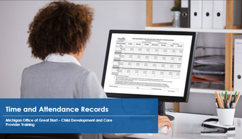 Provider filling out time and attendance record on computer