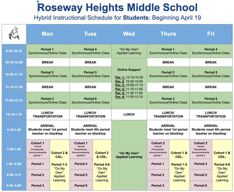 Roseway Heights Middle School Hybrid Schedule