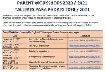 Parent Workshop/ Talleres Para Padres