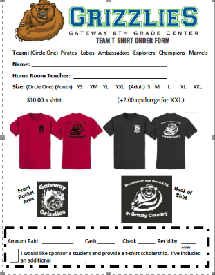 Team T-Shirt Order Form