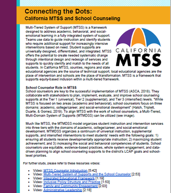 Role in MTSS