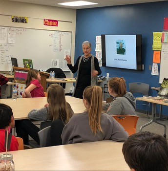 Author Rebecca Fjelland Davis discussing her book with students
