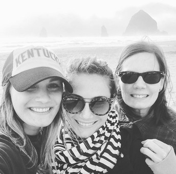 Cannon Beach, OR with my mom & sister