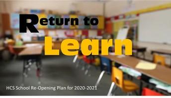 HCS School Re-Opening Plan for 2020-2021