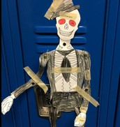 We displayed our Spanish-English Skeletons on our Lockers