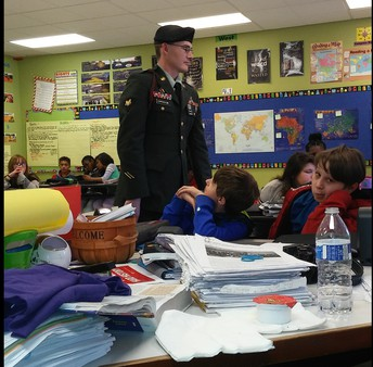 Army Specialist Copperstone Speaks to 6th Grade Scholars