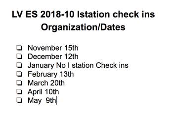 K to 2nd I Station Check ins Calendar