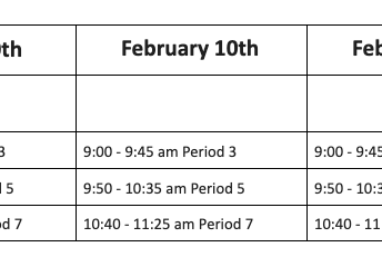 Change in Schedule for Upcoming Monday Holidays