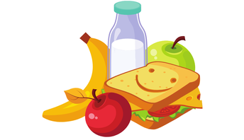 sandwich, milk, apple, banana