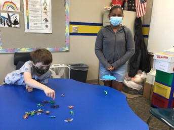 Students with plastic bugs